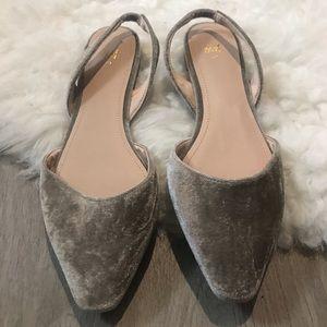 H&M Gray Velvet Slingback NWOT Flats Size 39